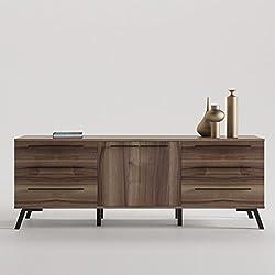 CajonesUnicos - Aparador 6 cajones y puertas con pata vintage, color del mueble- nogal, color de pata y tirador- aluminio