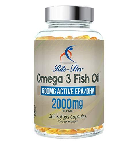 Omega 3 Aceite de Pescado 2000 mg 365 Soft Gel cápsula de Rite Flex (1000 mg por cápsula)