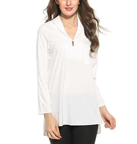 Beyove Damen Shirt Business Asymmetrisch Langarmshirt Herbst Bluse Oberteile V-Ausschnitt Geschäftlich Hemd mit Bündchen Weiß