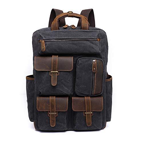 Canvas Bag Rucksack männlich Reisen Retro Canvas Bag große Kapazität Outdoor Herrentasche for 15,6-Zoll-Laptop (Color : Grey, Size : 25L)