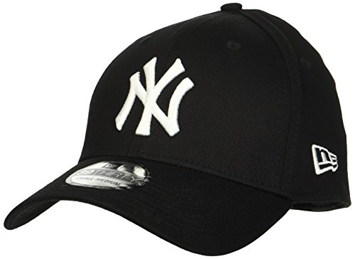 Weiß Fitted Hat Cap (New Era Herren Baseball Cap Mütze M/LB Basic NY Yankees 39Thirty Stretch Back, Black/ White, L/XL, 10145638)