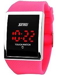 Skmei pantalla táctil resistente al agua Digital LED niños niñas niños Casual Sport muñeca relojes rosa rojo