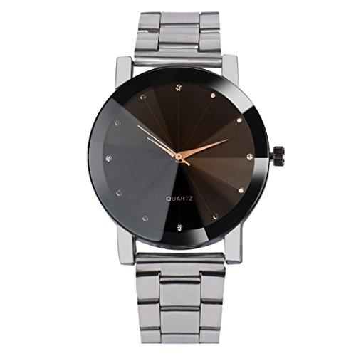 Uhren Dellin Mode-Frauen-Kristall-Edelstahl-analoges Quarz-Armbanduhr-Armband (Silber)