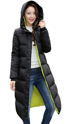 Smile YKK Manteau Long Femme Hiver Parka Chaud Blouson Manches Longues Veste à Capuche Mode Vert Buste 106cm