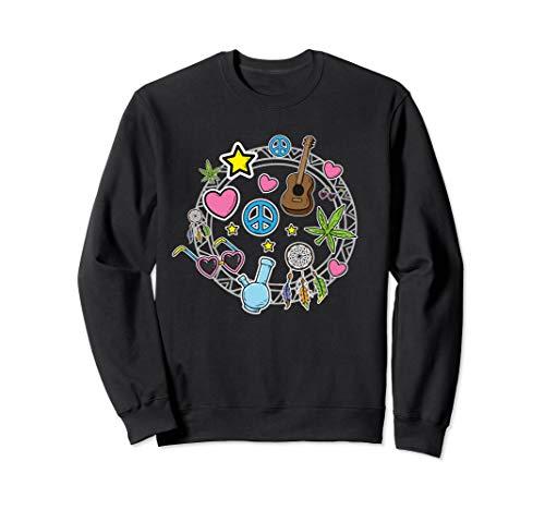 Hippie Kostüm für Paare Freiheit Liebe Blumenkind Frieden Sweatshirt (80 Motto Party Kostüm Für Paare)