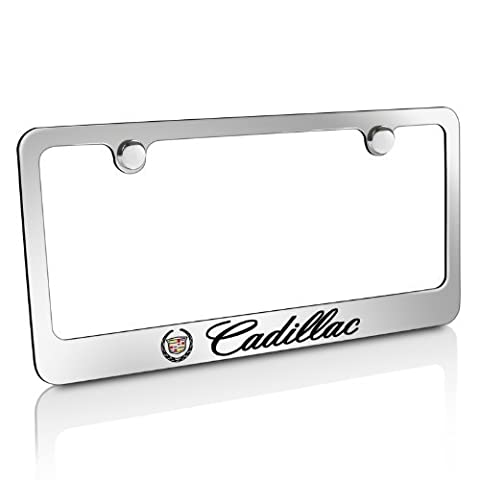 Cadillac Logo Chrome Solid Brass License Frame, Official Licensed by Car Beyond Store Cadillac