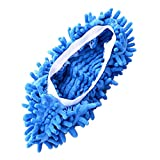 Huihuiya Multifunktionale Helle Farbe Elastische Chenille Micro Fiber Slipper Überschuhe Hausschuhe Mopp Haushalt Boden Staub Reinigungswerkzeuge-blau