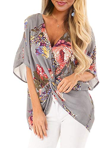 Kurzarm-twist (ZKESS Damen Casual Kurzarm V-Ausschnitt gerüscht Twist Floral Print Shirts Tops und Bluse S-XXL - grau - Small/34-36)