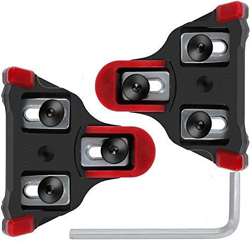 SPD-SL Fahrradschuhe Pedalplatten 6 Grad Schweben, Fahrrad-Schuhplatten Cleats Set von Selbst Schließend mit Schraubenschlüssel für Die Meisten Straßenradfahren Schuhe -