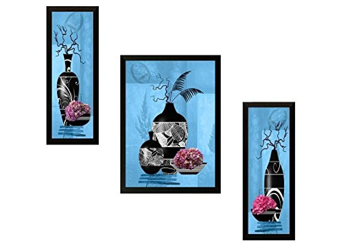 3 Piece Set ' Flower Floral' Painting (Synthetic, 35 Cm X 3 Cm X 38 Cm) Wall Hanging Art By Printelligent