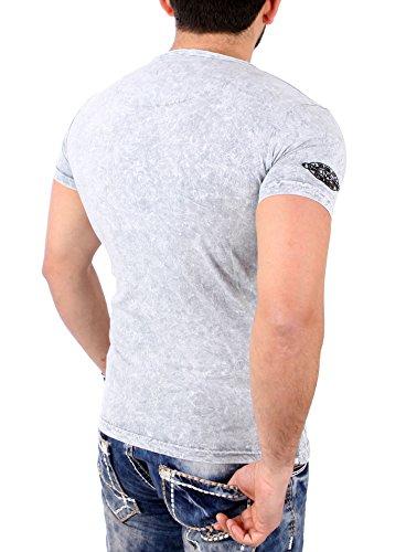 Tazzio T-Shirt Herren Vintage Batik Look Henley Kurzarm Shirt TZ-16154 Grau