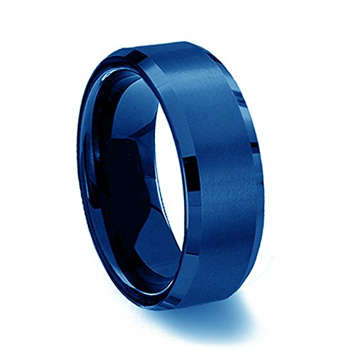 Gemini suo Comfort, colore: blu con bordi smussati, Ttianium-Anello a fascia da matrimonio, Regalo per (Titanio 7 Mm Matt)