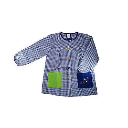Kiz Kiz Bata Escolar Infantil Baby Infantil de Cuadros Pequeños (Azul, 6)