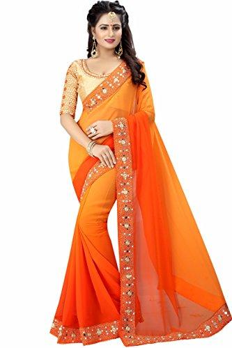 Kanha Fashion Onange Yellow 2D Color Georgette saree With Unstitched Blousesarees,Sarees,saree,sari,Saree,