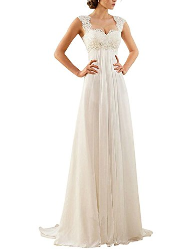 PRTS Damen Spitze Herzform Brautkleider Lang Chiffon A-Linie Hochzeitskleid Brautmode Weiß EUR46