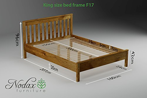 "Wooden Pine King Size Bed Frame""F17"" (UK King 150 x 200 cm Walnut finish)"
