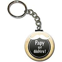 Papy qui déchire Porte clés chaînette 38mm ( Idée Cadeau Papi Fête des grands pères Noël Anniversaire )