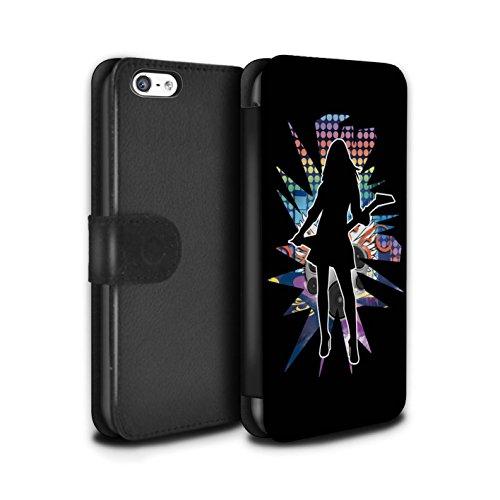 Stuff4 Coque/Etui/Housse Cuir PU Case/Cover pour Apple iPhone 5C / Pack (24 Designs) Design / Rock Star Pose Collection Rock Dame Noir