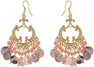 Alilang Boho Tribal Gold Tone Turquoise Blue Faux Seashell Chandelier Goddess Earrings