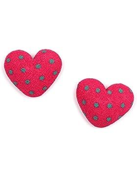 Idin Ohrclips - Purpurrote stoffbespannte Herzen mit grünen Punkten (ca 17 x 14 mm)
