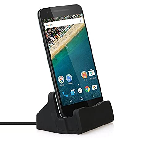 USB C Charger Dock, TUOYA Android Phone Docking Station Charging and Sync Stand Base for Lumia 950/950xl, Nexus 5x/6p and More Type-C Devices, Charge Cradle, USB Type-C Desktop Charger (Black)