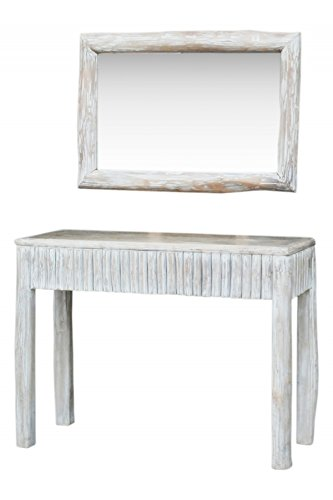Landhaus Shabby Chic Konsole mit Spiegel Samudra 2er Set - 103cm - (Tisch Konsole Set Spiegel)