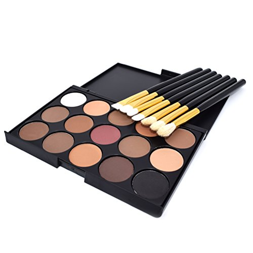 Dolovemk 15 couleurs Smokey Fards à paupières + 7 pinceaux de maquillage yeux, Kits de Smoky Eyes, pour Smokey Eyes Maquillage des apprenants