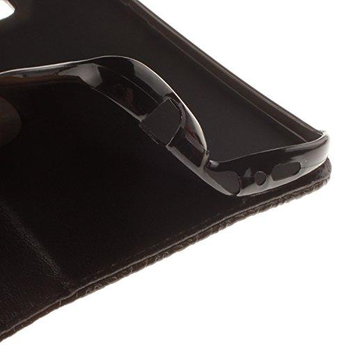 Custodia iPhone SE, ISAKEN iPhone 5S Flip Cover Case, iPhone 5 Wallet Cover con Strap, Elegante borsa Fiori Design in Pelle Sintetica Ecopelle PU Case Cover Protettiva Flip Portafoglio Case Cover Prot Tribal fiori: nero