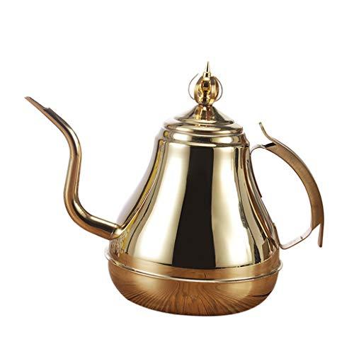 non-brand MagiDeal 1.2L / 1.8L Vintage Edelstahl Schwanenhals Teekanne Kaffeekanne, Silber/Gold -...