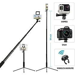 Bluetooth selfie stick, Moreslan allungabile monopiede treppiede con telecomando per GoPro, iPad, iPhone 8/8Plus/x/7/7Plus/6/6S/6s Plus, Samsung Galaxy S8/S8Plus/S7/S6/S5e più