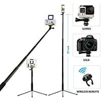 """Moreslan 59"""" Bluetooth Selfie Stick Tripod with Remote for iPhone X 8 Plus 7 Plus 6S Plus Samsung Galaxy S8 S7 iPad Gopro, 3 in 1 Extendable Monopod Tripod Stand for SLR Camera 360° Rotation"""