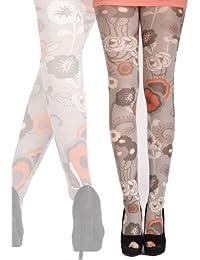 Hotlook Fleurie bedruckte Strumpfhose Blumen von Hotlook grau orange allover Print