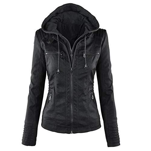 Tomasa Damen Lederjacke mit Kapuze, Lange Hülse doppeltes Zip Jacken Mantel Outwear (Zip-jacke-mantel)