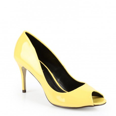 Ideal Shoes - Escarpins open toes vernies Ocelia Jaune