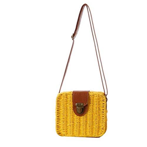 Sacchetto di paglia della borsa della traversa della borsa della caramella del pacchetto Piccolo quadrato della scatola Tote di tessitura di modo semplice della spiaggia , light brown yellow