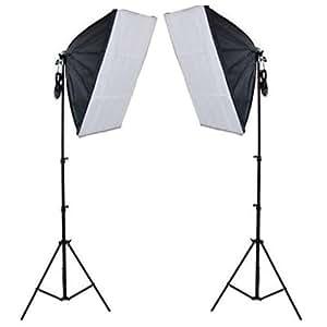 Photographique Boîte à lumière 50x70cm Softbox éclairage Studio Photo Revêtement Blanc Trépied Kit Complet Comprenant 2 Lampe, 2 Softbox (Pour des Effets d'éclairage Doux), 2 Trépied