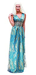 YT Electric Daenerys Targaryen Game of Thrones Outfit Blau Kleid Halloween Kostüm Damen Cosplay Party S