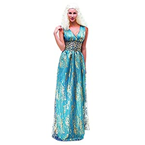 SYMTOP Traje Daenerys Targaryen Khaleesi Largo Vestido Azul Juego de Tronos Game of Thrones Cosplay Fiesta de Halloween 4