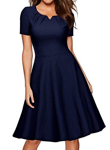 Miusol Vintage 50er Kleid Knielang Ballkleid Rockabilly Cocktail Abendkleid Dunkelblau Gr.XXL