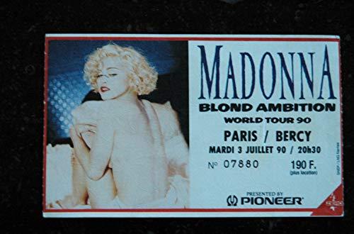 MADONNA RARE ANCIENNE PLACE DE CONCERT BLOND AMBITION WORLD TOUR 90 PARIS & BERCY 3 JUILLET 1990...