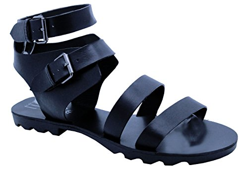 Mesdames Femme Cheville Bretelles Gladiateur à crampons plate-forme Chunky sandales chaussures taille - Black Ankle Strap Tread Cleated Gladiator