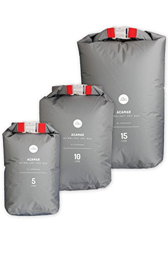 NORDKAMM Sac étanche, dry bag set (5l, 10l, 15l), imperméable, waterproof, léger, ultra light, pour appareil photo, kayak, randonnée, voyage
