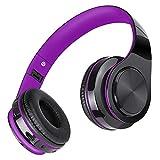 Casque Bluetooth Sans Fil , Casque Annulation de Bruit avec Microphone intégré Over Ear, MeihuaTu Casque stéréo Hi-Fi avec earmuff Souples Pour Téléphone Intelligent, Tablettes PC, Iphone X / 8 / 7(Violet & Noir)
