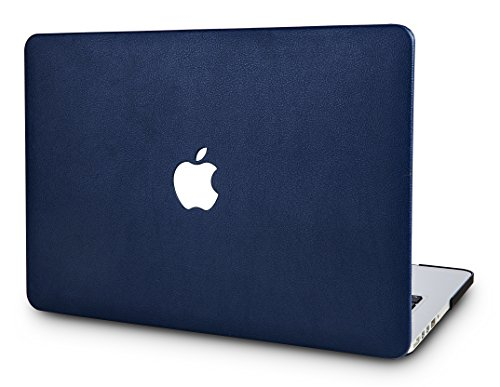 KECC MacBook Pro 13 Coque (2019/2018/2017/2016, Touch Bar) Rigide Cuir Case Cover pour MacBook Pro 13.3 {A1989/A1706/A1708} (Cuir Bleu Marine)