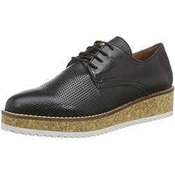 Shoot Shoot Shoes SH-160091Y Damen Sommer Leder Schnürhalbschuhe, Damen Plateau Pumps, Schwarz (Black), 39 EU