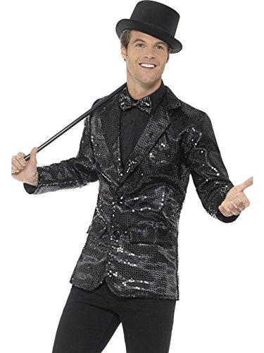 etten Jacke, Größe: L, Schwarz, 46984 (Schwarze Pailletten Jacke Erwachsene Kostüme)