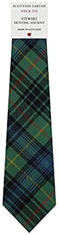 Mens All Wool Tie Woven Scotland - Stewart Hunting Ancient Tartan