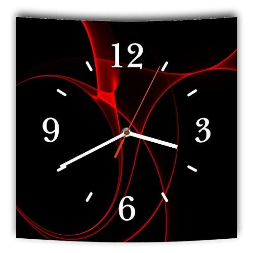 LAUTLOSE Designer Wanduhr mit Spruch Schwarz rot Abstrakt modern grau weiß modern Dekoschild Abstrakt Bild 29,5 x 28cm