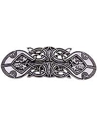 Pasadores para el pelo, diseño de cuervo vikingo, estilo celta, para mujer, color plateado envejecido.