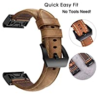 Quick Fit Replacement Leather Watch Strap Band For Garmin Fenix 5X/5X Plus(Brown)